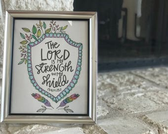 Framed Inspiration | 8x10 | Psalm 28:7