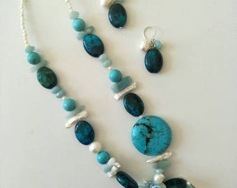 Adventurine, Chrysocolli, Died Howilite, fresh water pearl charm Necklace with matching charm earrings.