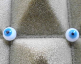 pair of glass eyes, blue/6 mm/vintage/antique/1930s/Lauscha/Germany