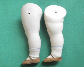 "dollhouse doll legs, bisque/3.1"", 1.18""/antique, vintage/1910s/Germany"