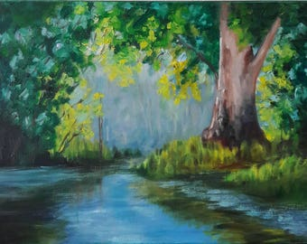 Forest.  Original. Oil painting. Canvas. Wall art.