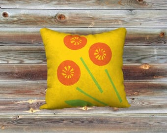 Broken bouquet throw pillow cover (yellow)