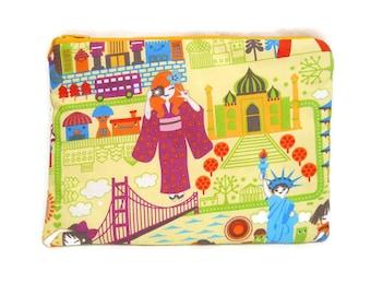 Pochette molletonnée Tour du Monde Kawaii avec le Japon, New-York, Taj Mahal / Trousse / Etui Fantaisie coloré