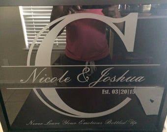 Custom Engraved Newlywed Shadow Box