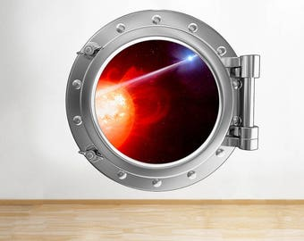 F981 Fire Planet Glow Space Boys Window Wall Decal 3D Art Stickers Vinyl Room