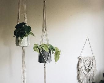 Macramé Pair / 2 Large Basic Hangers