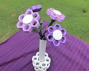 Welded Metal nuts and bolt flowers