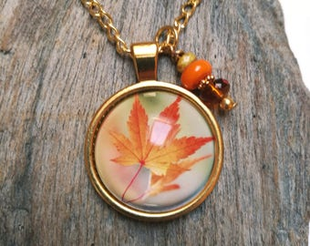Fall maple leaf pendant, gold col. necklace with bead charm, glass cabochon pendant, glass dome, leaves orange autumn