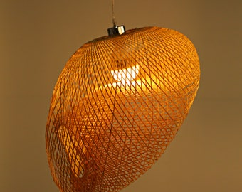 Arturest Bamboo Pedant Lamp, Art Deco Light, Dinging Room Lamp, Handmade Yoga Room Light