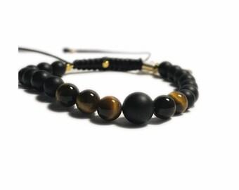 Tiger Eye Onyx charm bracelet