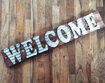 WELCOME | metal wood sign