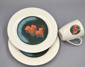 Illustrated ceramic plate and mug set