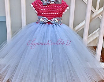 Crochet Hello Kitty tutu dress, Crochet tutu dress, Hello Kitty dress