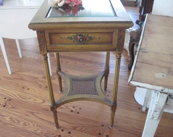 Vintage French Nightstand Side Table Boudoir Bedroom Furniture Floral Hand Painted Detailing  C1920-30