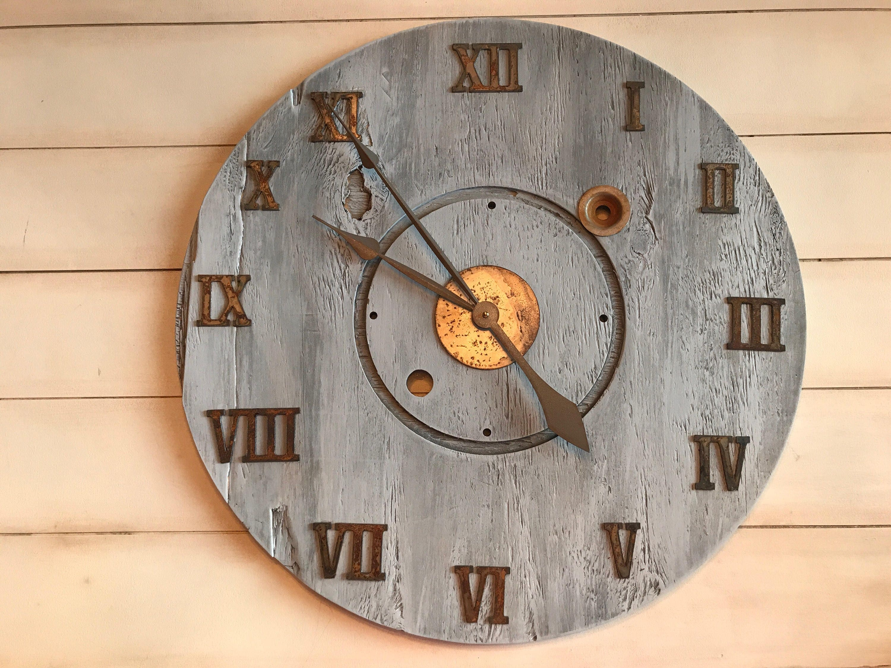 Oversized Rustic Farmhouse Wall Clock Roman Numeral Clock