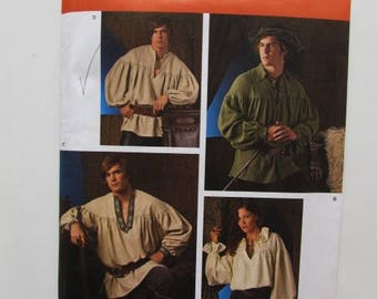 Medieval Shirt, Renaissance Shirt, Pirate Shirt, Man or Woman Adult Size Simplicity 3519 - Uncut