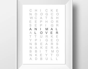 Animal Lover Gift - Animal Lover Print - Animal Lover Wall Art - Vegan Gift - Vegetarian Gift - Veggie Gift - Vegan Print - Veggie Print