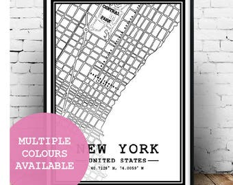 New York Map;Minimal;Multiple Colours;New York;United States;Map Art;Wall Hanging;Home Decor;Poster;Art;A5/A4/A3