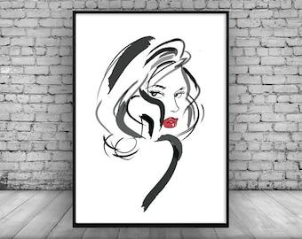 Wall Print;Black and White;Minimal;Illustration;Home Decor;Wall Hanging;Wall Art;Design;Paris:Fashion