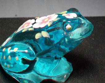 Fenton Blue Hand Painted Frog Figurine