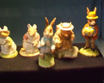 Five English Porcelain Bunny Mice Figurines Beswick Royal Doulton