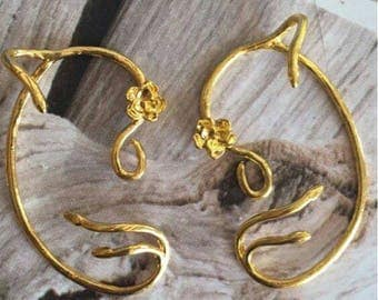 Beauty and the beast inspired belle ear cuff earrings gold rose gold silver jewelry findings
