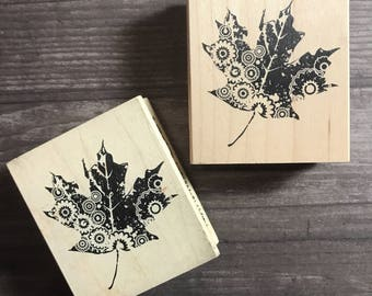 Patterned Leaf Small Wooden Block Stamp