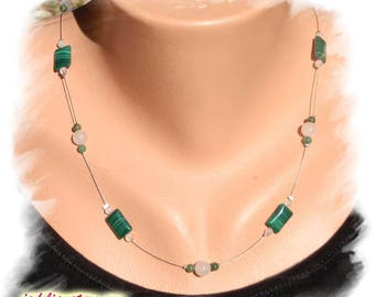 MALACHITE, QUARTZ ROSE and JADE, silver necklace