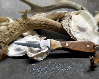 GKC Custom Oyster Knife with Bottle Opener / Antler Bolsters, Oak Handles, Cooper Pins, and Leather Lanyard