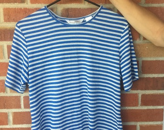 Blue, White, and Sparkly Gold Striped Tee