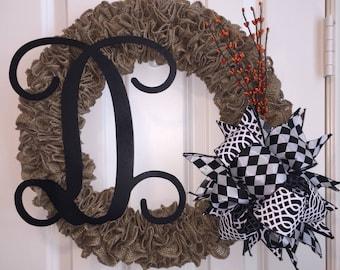 Burlap Wreath,Monogram Wreath,Fall Wreath,Everyday Wreath,Summer Wreath,Front Door Decor,Couples Gift,Wreath for Front Door,Custom Wreath
