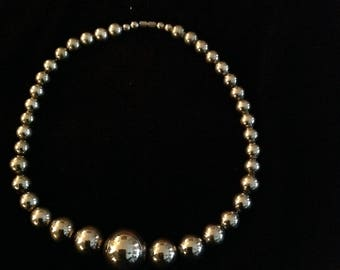 Graduated Silver Bead Necklace - plated - Vintage