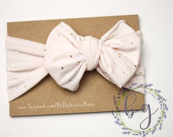 Pink & Gold Gracie Headwrap Bow