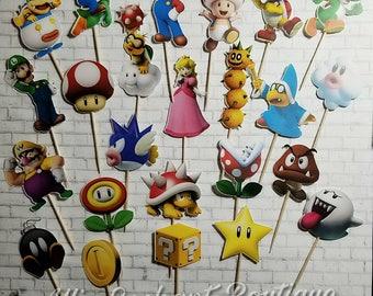 Super Mario Cupcake Toppers, Mario Cupcakes, Cupcake Decorations, Mario Birthday Decorations