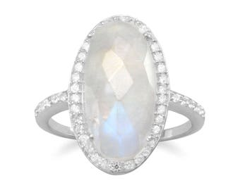 Gorgeous Rainbow Moonstone Ring
