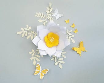 Yellow Paper flowers wall decor. Large flowers wall decor. Nursery paper flowers. Wedding backdrop. Bridal shower backdrop. Kids room decor.