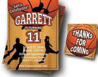 Basketball Birthday Invitation - Basketball Invite - Teen Invitation - ANY AGE - Digital Download - Custom Color Available