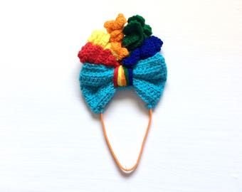 Pony Hair Bow, Pony Headband, Crochet Pony, Rainbow Dash Costume, Rainbow Dash, Rainbow Headband, My Little Pony Hair, Rainbow Bow Girl, New
