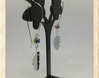 Earrings feather - Ultra Lightweight stainless steel.