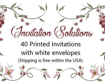 40 Printed Invitations with envelopes - Add-on for custom invitation