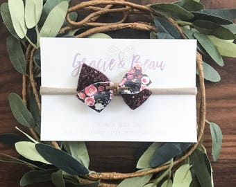 Glitter Baby Bow, Leather Bow, Petite Baby Bow, Baby Headband, Nylon Band, Soft Hair Bow, Fall Bow, Floral Bow