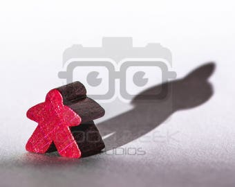 Photo Art Print: Meeple with a Shadow - Color/Red
