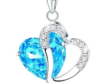 Silver Pendant Necklace - Cubic Zirconia Heart - 45cm (17.7in)