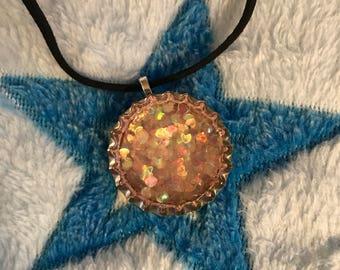 Light pink sparkle heart bottle cap necklace