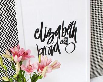 Couple Engagement Typography Print - Custom