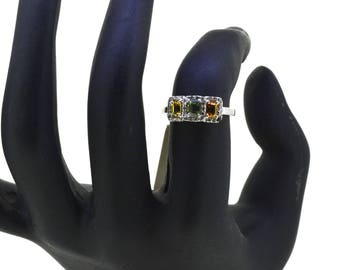 0.32ct Round Cut Engagement Ring band set in Solid 14k White Gold Bridal, Wedding Set , Engagement Set, Wedding band, Multi-Color Tourmaline