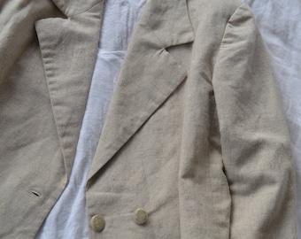 Beige Vintage Linen Blazer / Size 10 - 12 / Shoulder padding / Double breasted buttons / 1980's 1990's