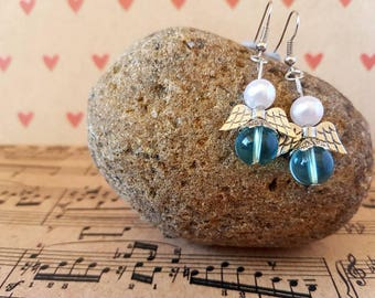 Angel earrings-blue