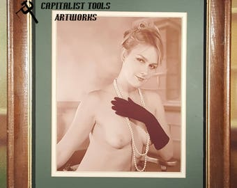 "ORIGINAL ART PHOTO:  Nude young woman in black gloves and pearls, 8"" x 10"" image size, double-matted, in very worn wood frame"