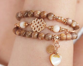 Bracelet set with shell beads